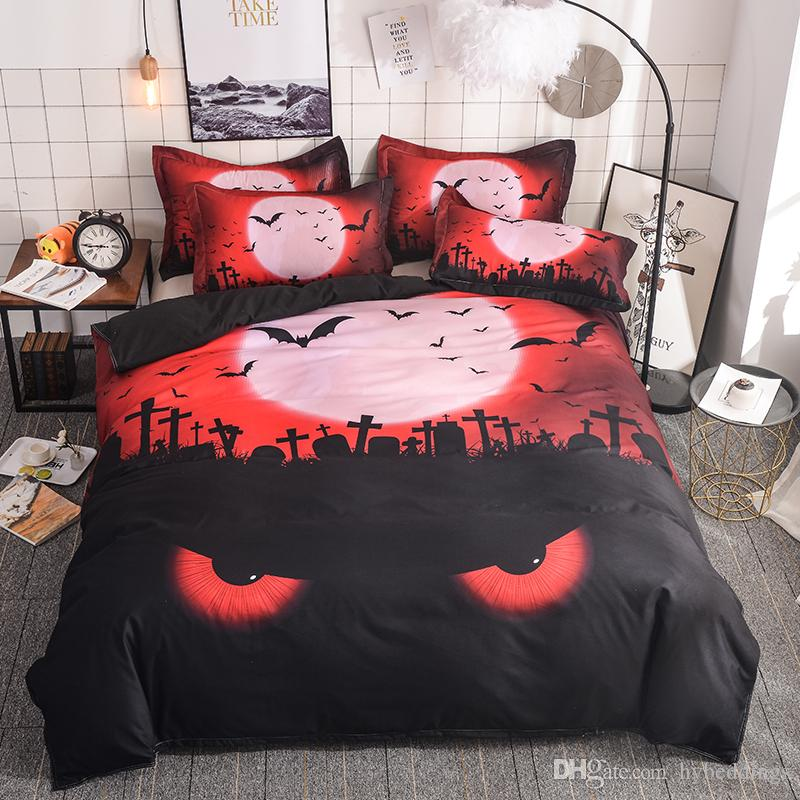 Happy Halloween Bedding Set Tombstone Eye Bat Duvet Cover