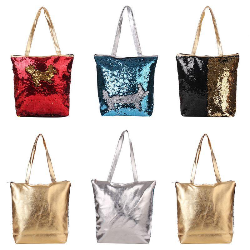 Women S Reversible Sequins Shoulder Bag Glitter Shopping Casual Tote Handbag  Black Handbags Weekend Bags From Gor2doe 52da63e215
