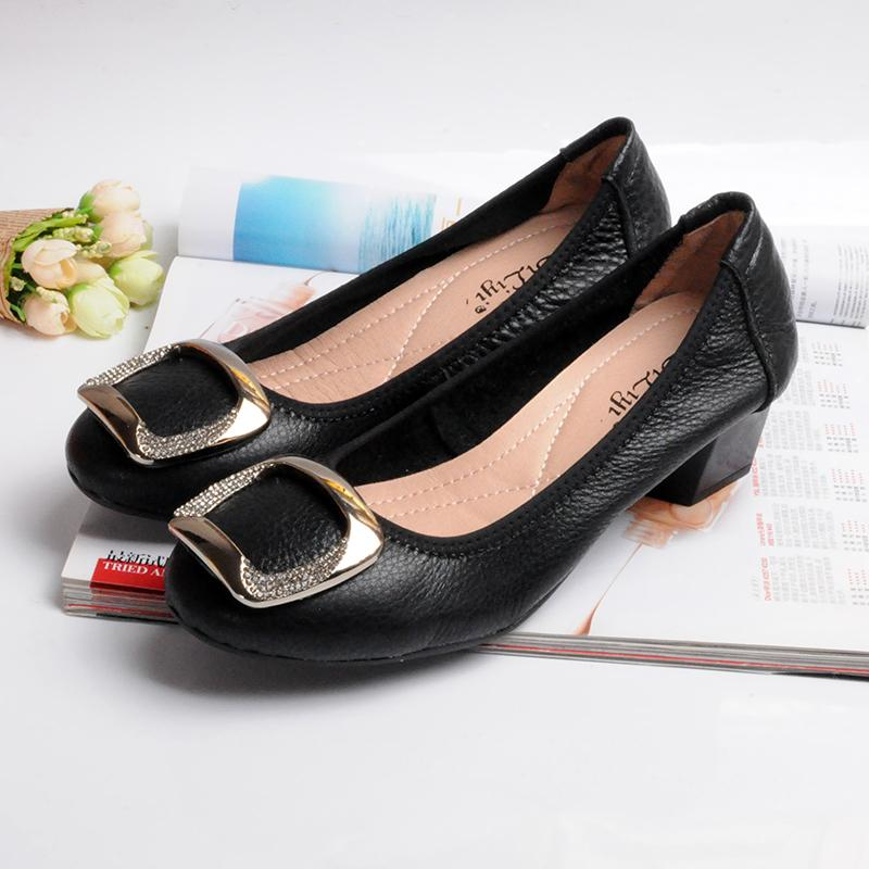 c1184950a52 Loafers Women Genuine Leather Spring Autumn Summer Woman Shoes Sweet Tip  Casual Square Toe Crystal Fashion Girl Shoes Metal Online with  73.07 Piece  on ...