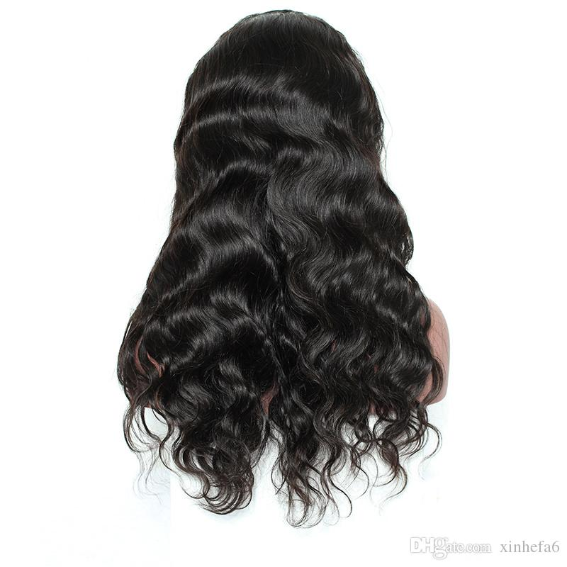 middle part Virgin unprocessed full lace human hair wigs Brazilian hair lace front wig glueless human hair wigs for black women
