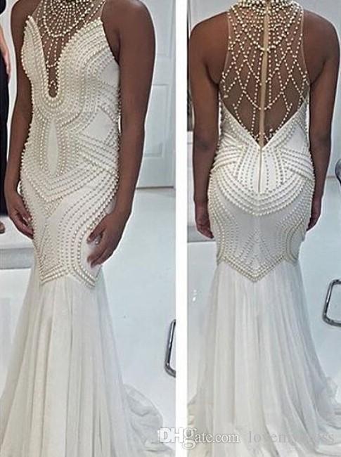 Beyaz İnciler Mermaid Pageant Elbiseler Yüksek Boyun 2021 Şifon Hollow Geri Lüks Balo Akşam Örgün Elbise Abiye Ucuz Uzun