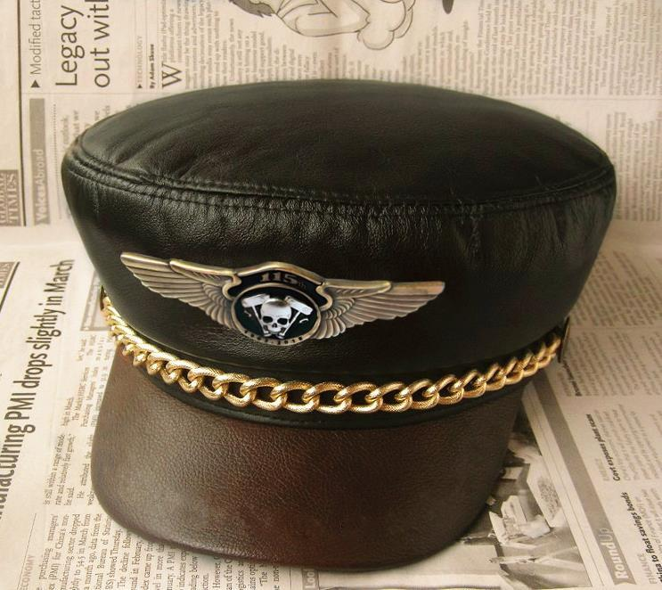 Motorcycle Biker Genuine Leather Hat Men Women Chain Skeleton Punk Rock Show Navy Hat 115th Anniversary Badge Cow Leather