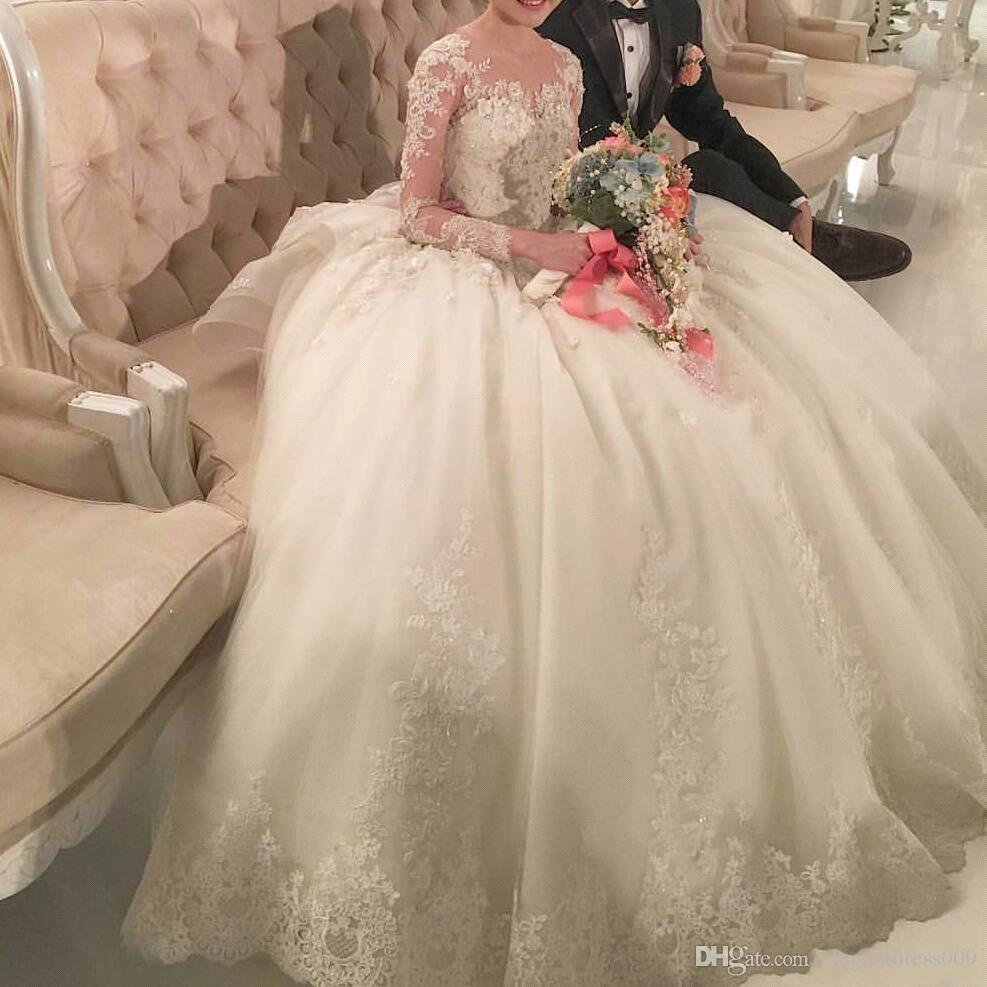 2018 charmant robe de boules de dentelle de luxe robe de mariée manches longues chapelle perlée Train de mariage robes de mariée Vestidos de Novia Plus Taille