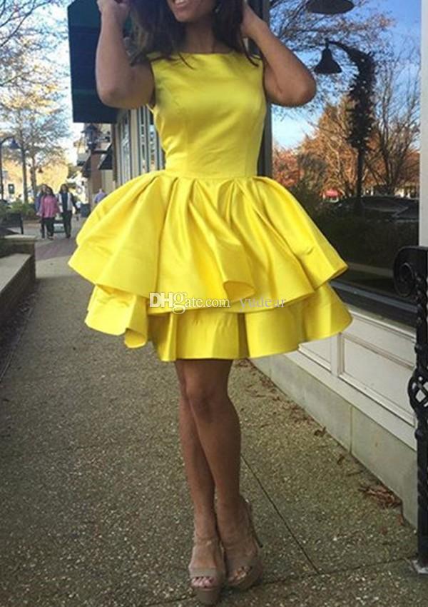 Seksi 2019 Jewel Boyun A-line Kızlar Mezuniyet Elbiseleri İki Katmanlar Mini Kısa Kokteyl Elbiseleri Kolsuz Saten Yüksek Kalite Onur Hizmetçi Kıyafeti
