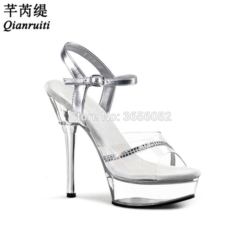 dfc638d0f98 Wholesale Ladies Fetish Summer Shoes High Stiletto Heels Party Wedding Shoes  Bride Black Silver Crystal Platform Sandals Women Mens Dress Shoes Prom  Shoes ...