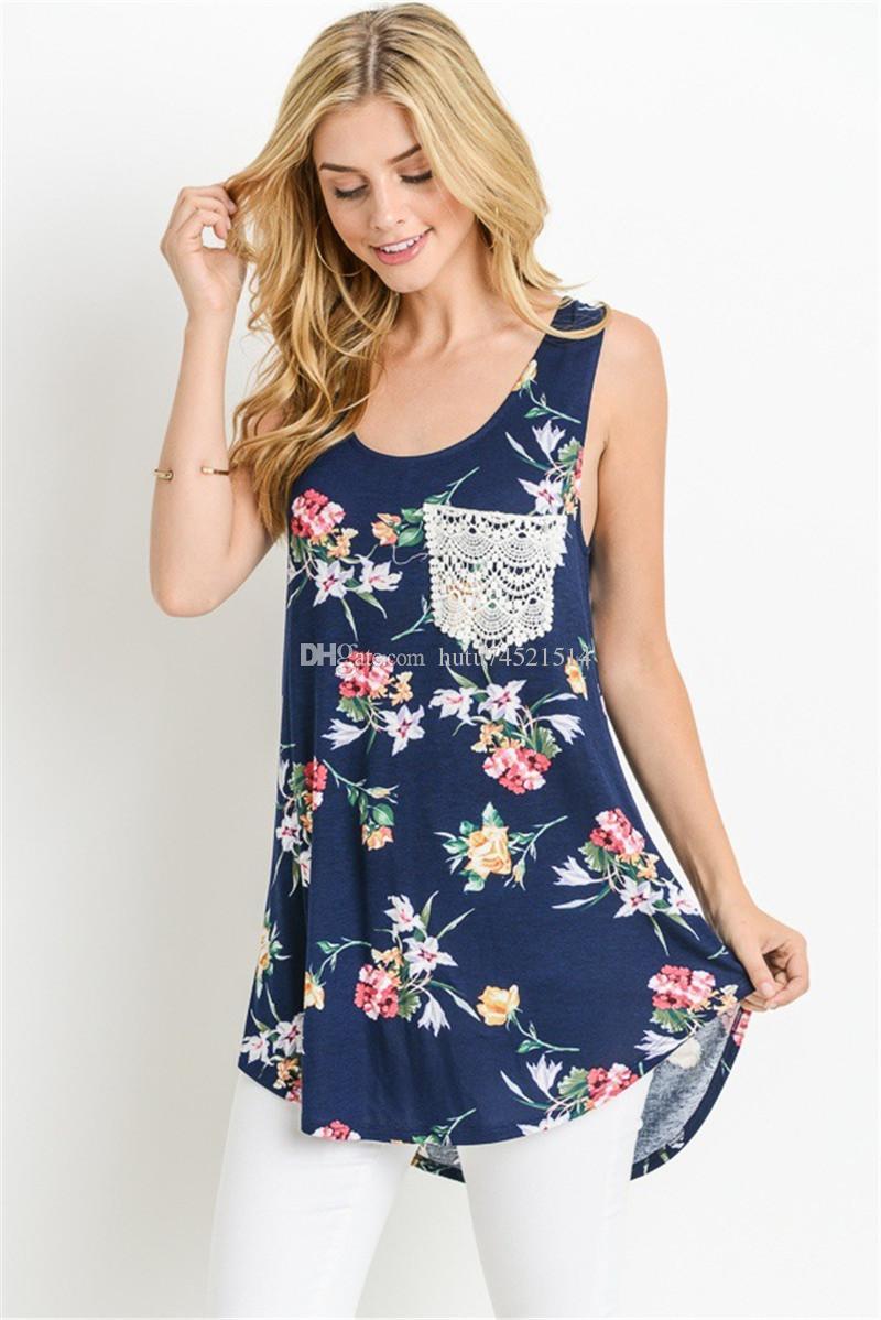 S-5XL New Summer 2018 Casual T-shirt da donna senza maniche O-Collo stampato camicia patchwork Hem pacchetto allentato Hip donna vestiti Top