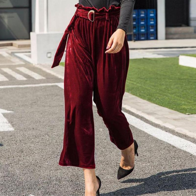 a3e3a3ad71 2019 Autumn Velvet Wide Leg Pants Women Solid Color Loose High Waist Pants  Ladies Office Trousers Casual Clothes Plus Sizes From Modeng02, $40.42 |  DHgate.