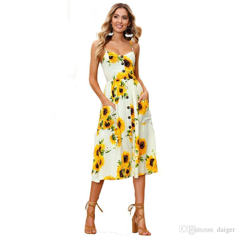 df9cb834ac 2019 Sexy Boho Women Beach Wear Casual Sundress 2018 New Summer Sleeveless  V Neck Backless Slim Dress Floral Buttons Fashion Dresses From Daiger