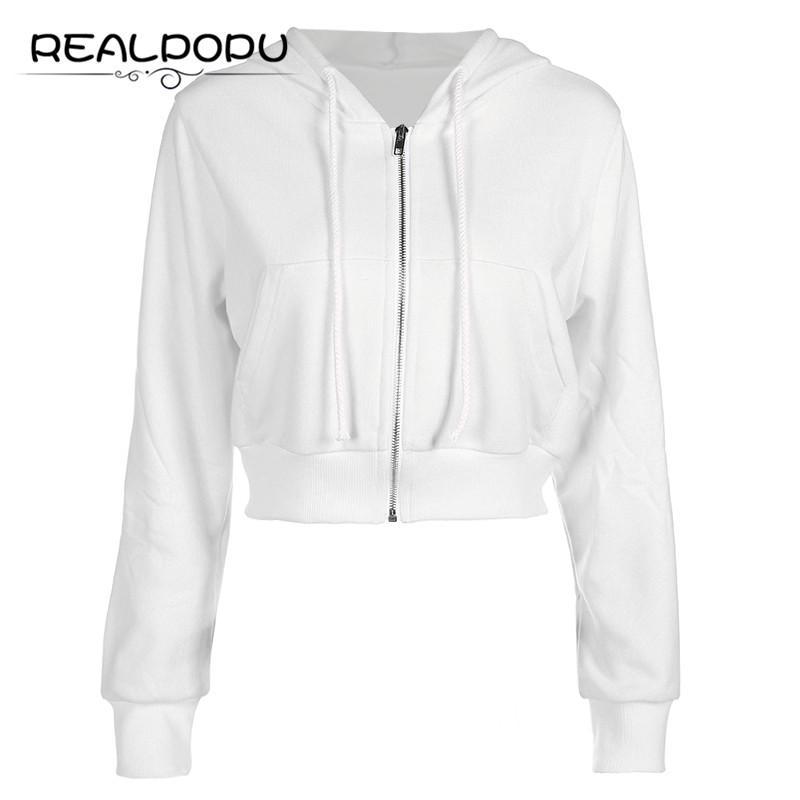 abeb0941198c1 White Long Sleeve Ladies Jacket Women Zip Up Pockets Cotton Fashion Top  Ribs Hem Hoodie Coat Solid Casual Sexy Basic Winter Coat Cropped Jacket  Brown Jacket ...