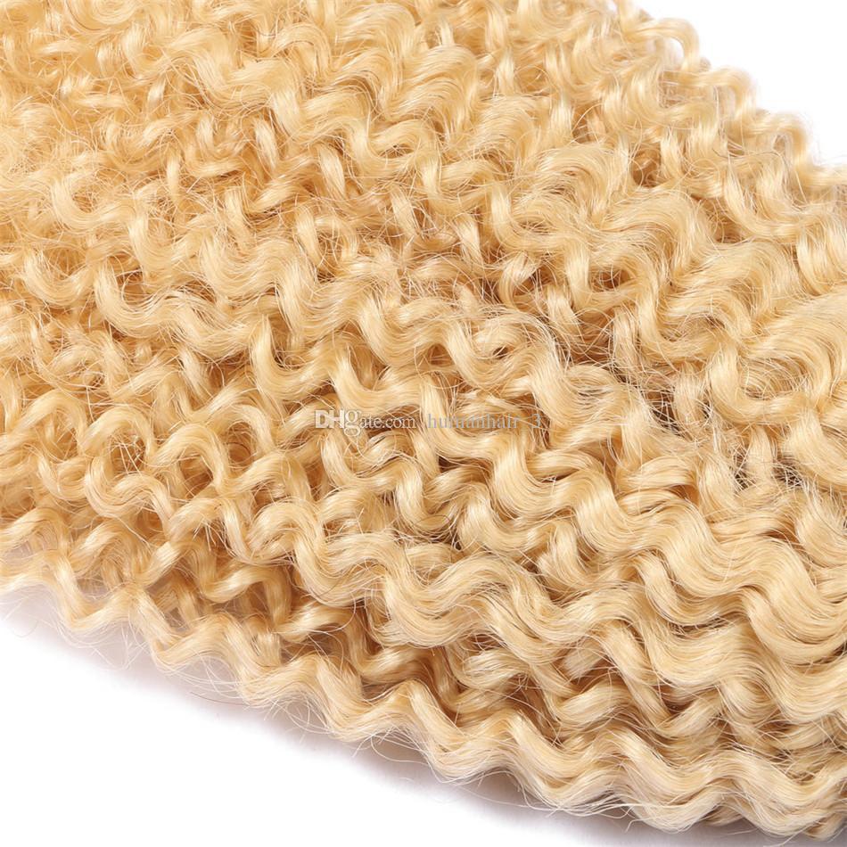 아프리카의 변태 금발의 인간의 머리카락 번들 / 많은 브라질의 버진 머리카락이 엮어 낸다 1b 613 금발의 두 톤 변태 곱슬 다크 루츠 헤어 번들