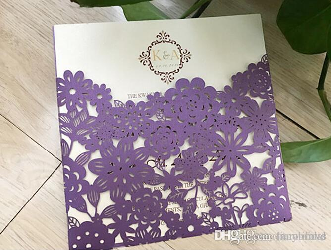 Free Shipping Charming Laser Cut Pocket Wedding Invitation Suites Custom Inner Sheet with Envelope Wedding Blank Inner Invitations Custom