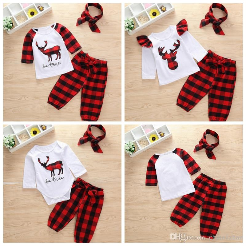 de692b85042 2019 Baby Girl Clothes Sets Plaid Baby Boy Tops Pants Headband Suits Cotton  Deer Kids Outfits Christmas Kids Clothing 3 Designs YW484 From China1zhan