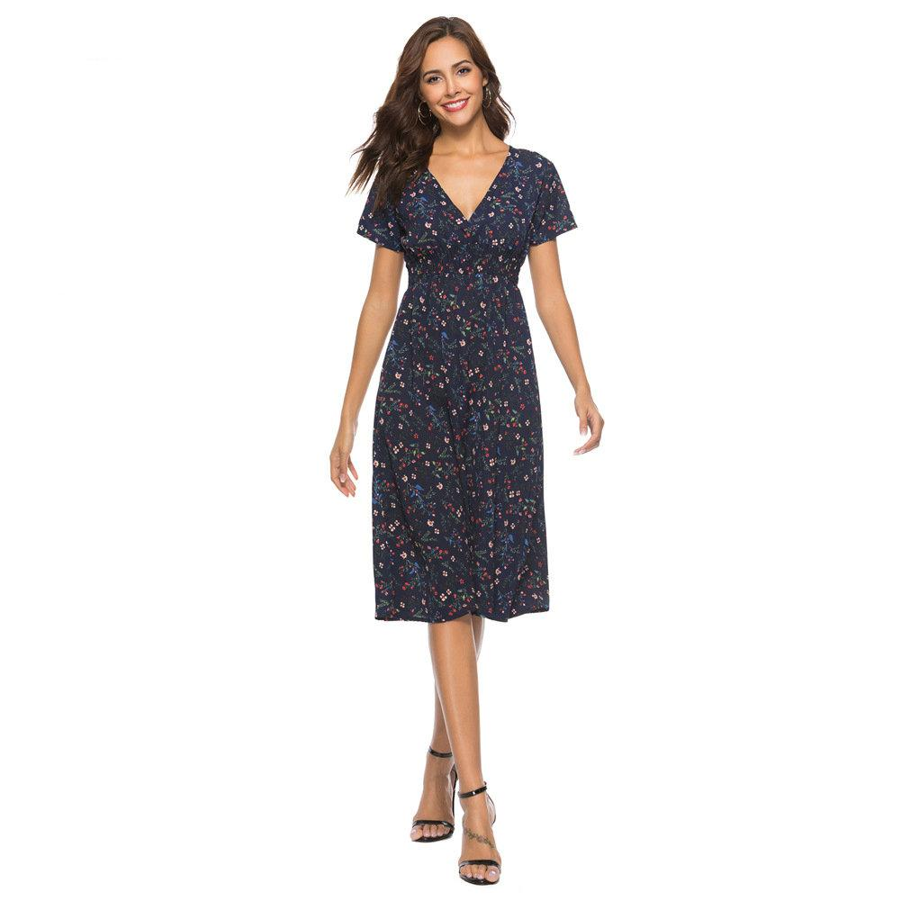 fa1d750c7f Casual Floral Printed Womens Dress Short Sleeve V Neck Knee Length Dress  Fashion 2019 Summer Dresses Brief Chiffon Beach Dresses Dresses Of Women  Summer ...