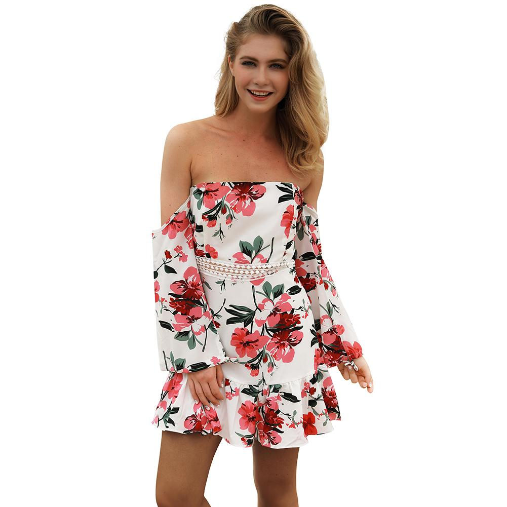 8a7a14736342 Off Shoulder Summer Beach Dress 2018 Floral Print Women Sexy Casual Ladies  Mini Dresses Long Sleeve Short Holiday Dresses Female Black Lace Summer  Dress ...