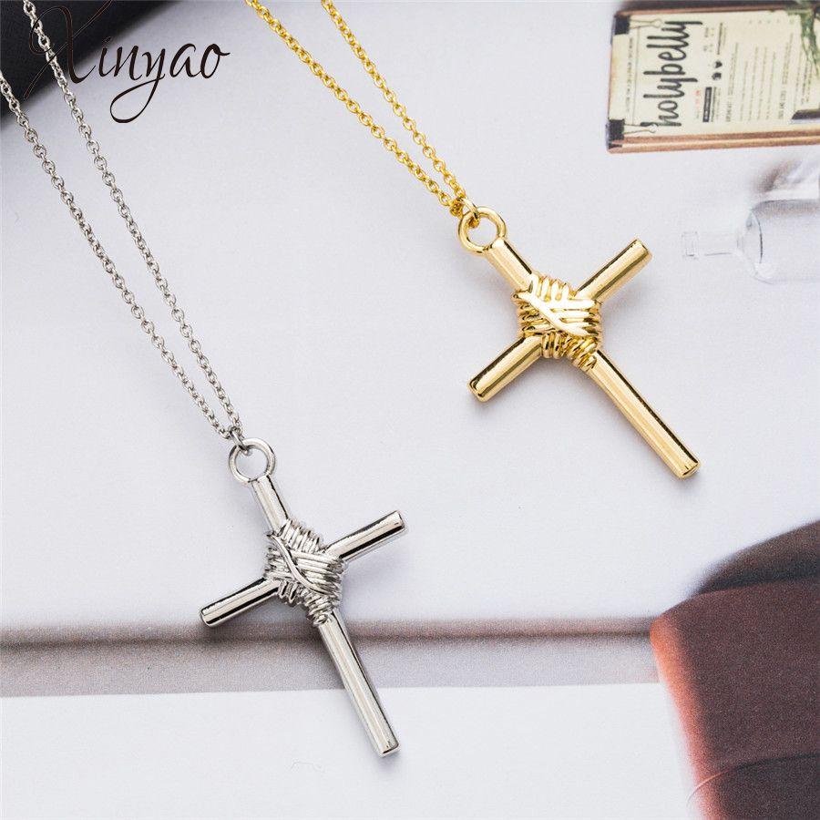 XINYAO 2018 Hip Hop Alloy Cross Pendant Necklace For Women Men Gold ... 1e6d357b78c0