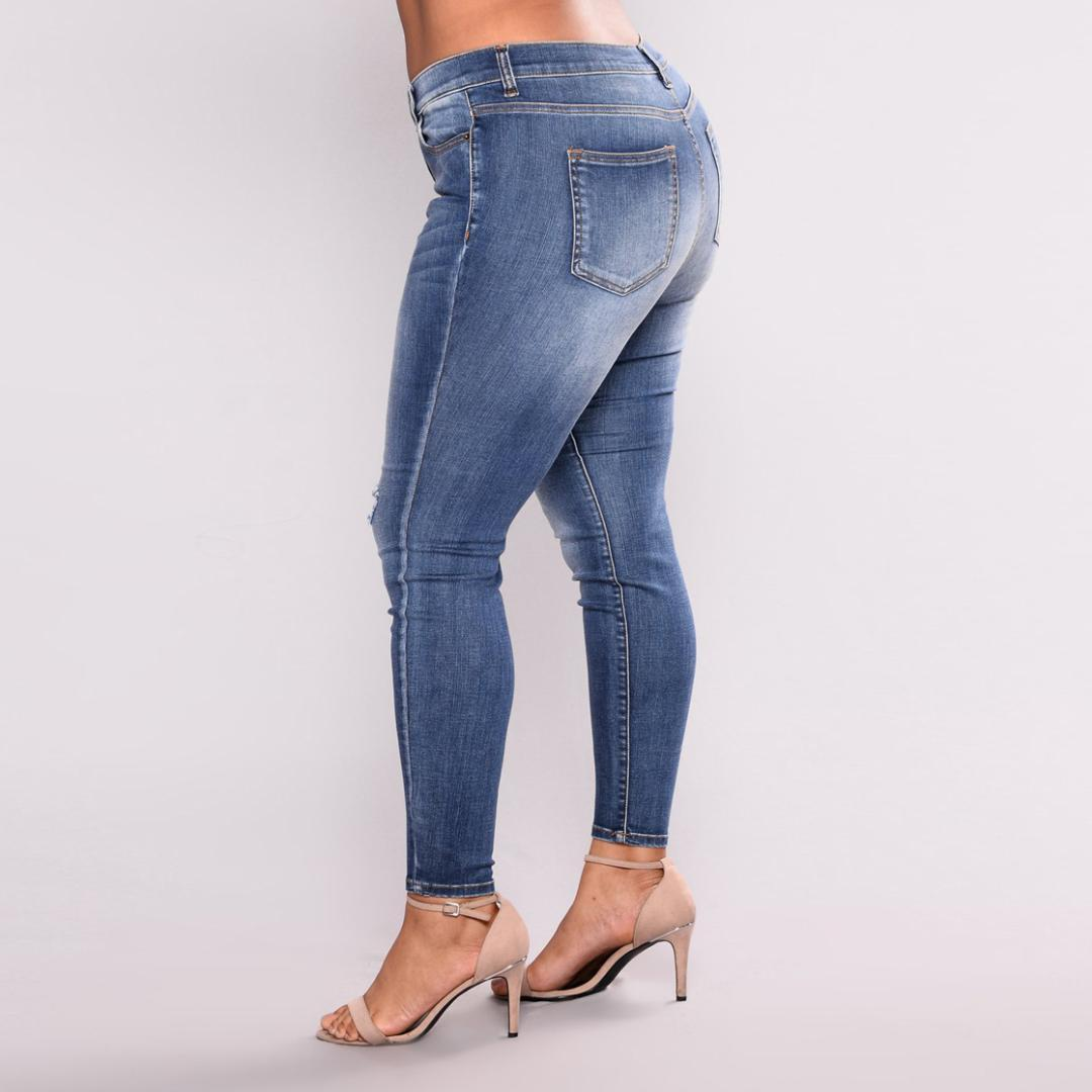 fc78b37f6d067 Women Plus Size High Waist Skinny Denim Pencil Pants Ladies Casual ...