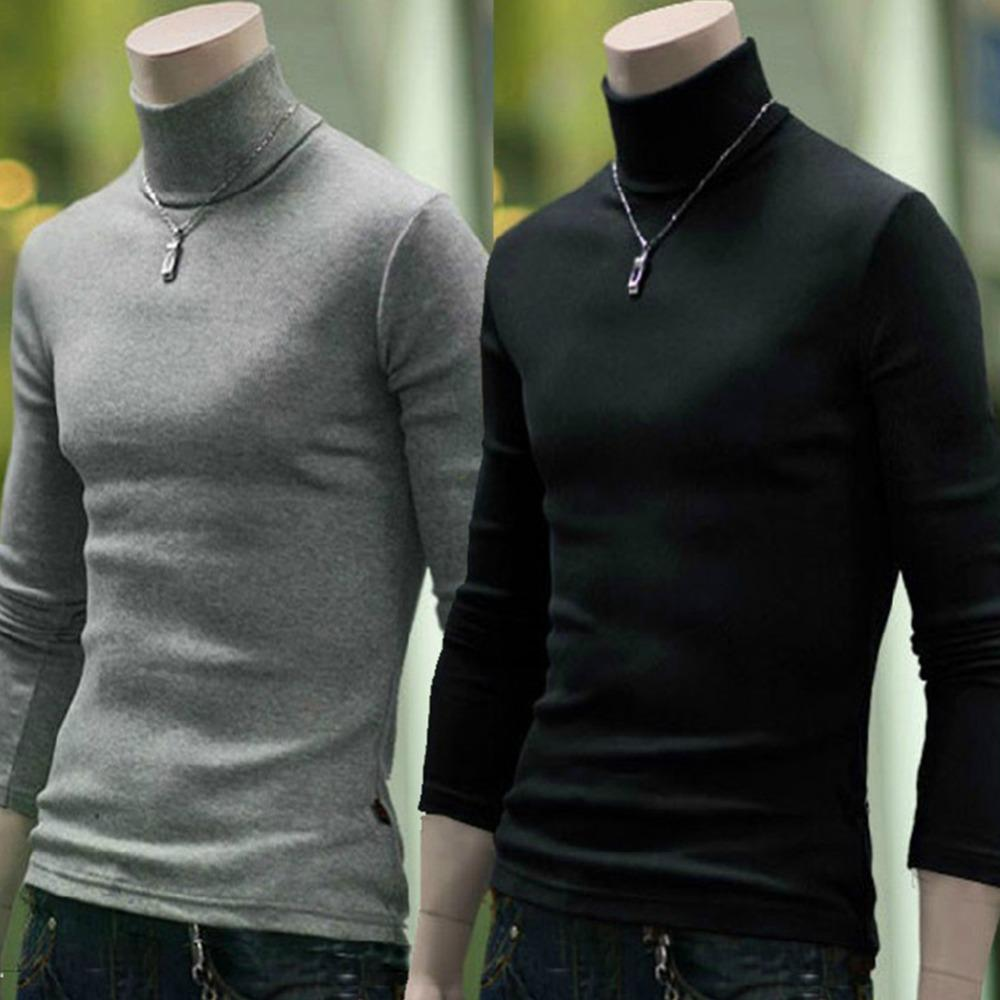 ebc374f8f93b 2019 Men S High Collar Solid Color Casual Sweater Autumn Winter Sweater  Men S Slender Knitted Pullover From Cardigun