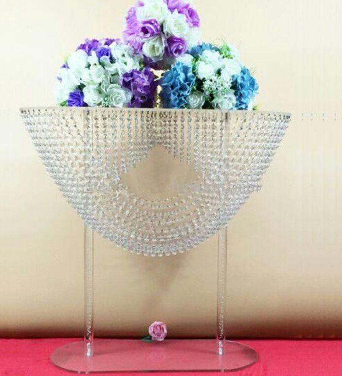 Forma oval de cristal acrílico frisado peças centrais do casamento flor carrinho de mesa decoração para decoração de festa de casamento