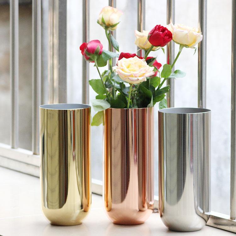 Nordic Flower Round Metal Vase Simple Vase Stainless Steel Gold