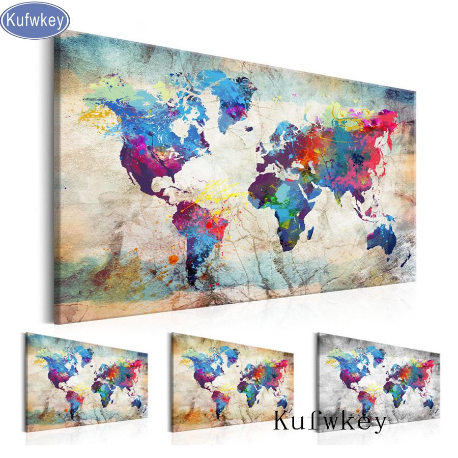 "5D DIY Diamond Painting Handicraft Cross Stitch ""World Map""Full Square Diamond Embroidery sale of pictures Home Decoration Y18102009"