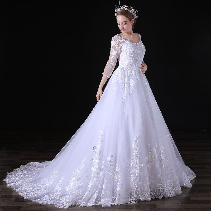 Beautiful Wedding Dress A-line Lace Handmade Applique Thin Mesh Seven-point  Sleeve Zipper Trailing Bride Dress Beautiful Wedding Dress Wedding Dress  A-line ... fa8452ce74c8
