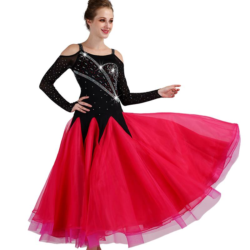 321985d7dafe Ballroom Dance Dresses Lady's Long sleeve Black red Tango Waltz Dancing  Skirt Women Ballroom Dance Competition Dress