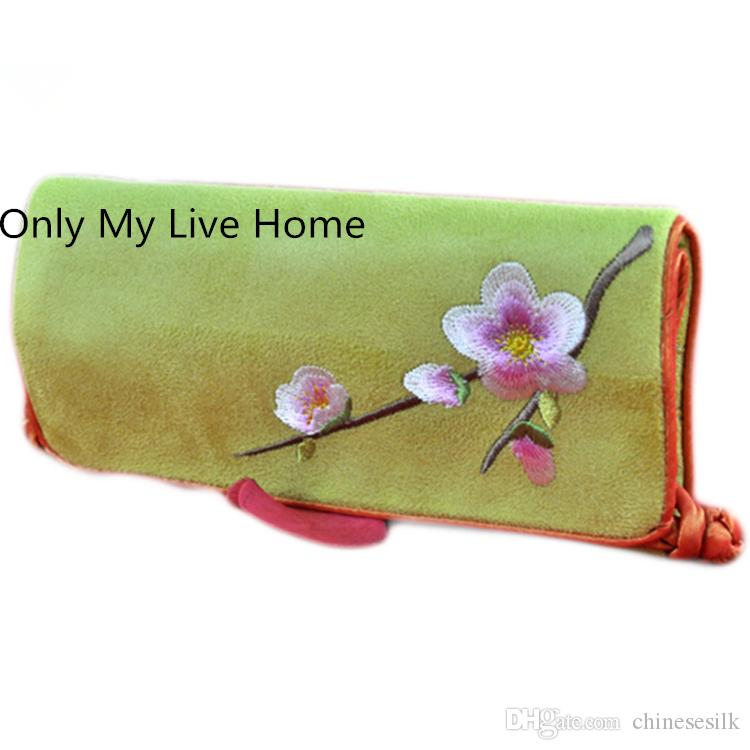 Bärbar mocka läder smycken rulla upp resväska vikning broderade blomma kinesiska smycken väskor påse 10st / parti