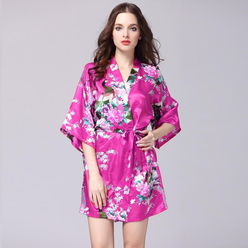 2019 Peacock Gown Sleeve Woven Silk Pajamas Bathrobes Women Summer Silk  Single Nightgown Tracksuit From Max4075 8f21c2216