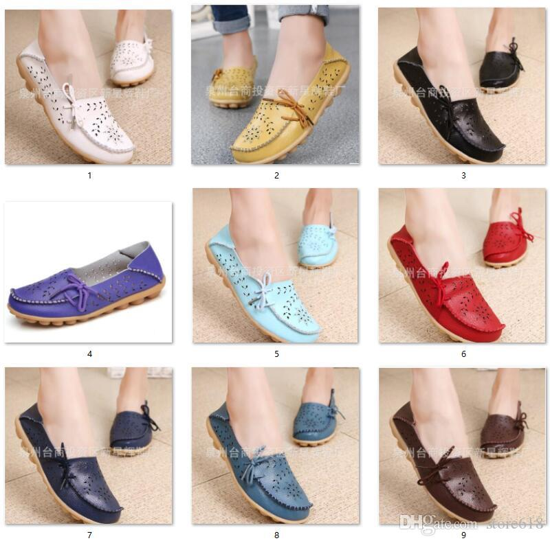 Spring summer new hole low help flat bottom women shoes comfort nurses shoe size mother shoes genuine leather shoes