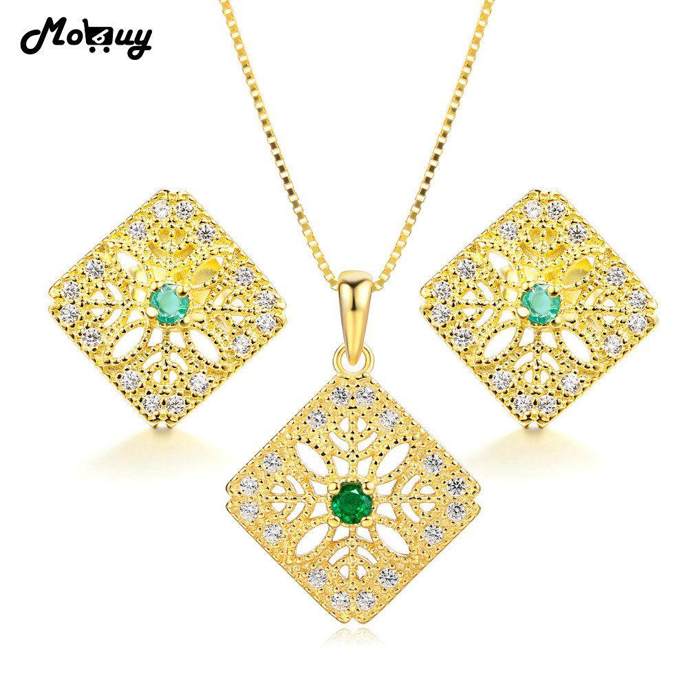 db4e511f43bc Compre MoBuy 3 Unids Natural Gemstone Emerald 2 Unids Conjuntos De Joyería  100% 925 Joyería Fina De Plata Para Las Mujeres Que Se Casan V029EN A   41.41 Del ...
