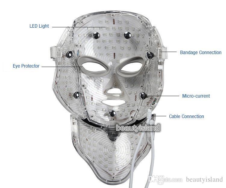 PDT Terapia de luz LED Mascarilla facial con 7 fotones de colores para cara y cuello Rejuvenecimiento de la piel LED Mascarilla con uso doméstico personal de microcorriente