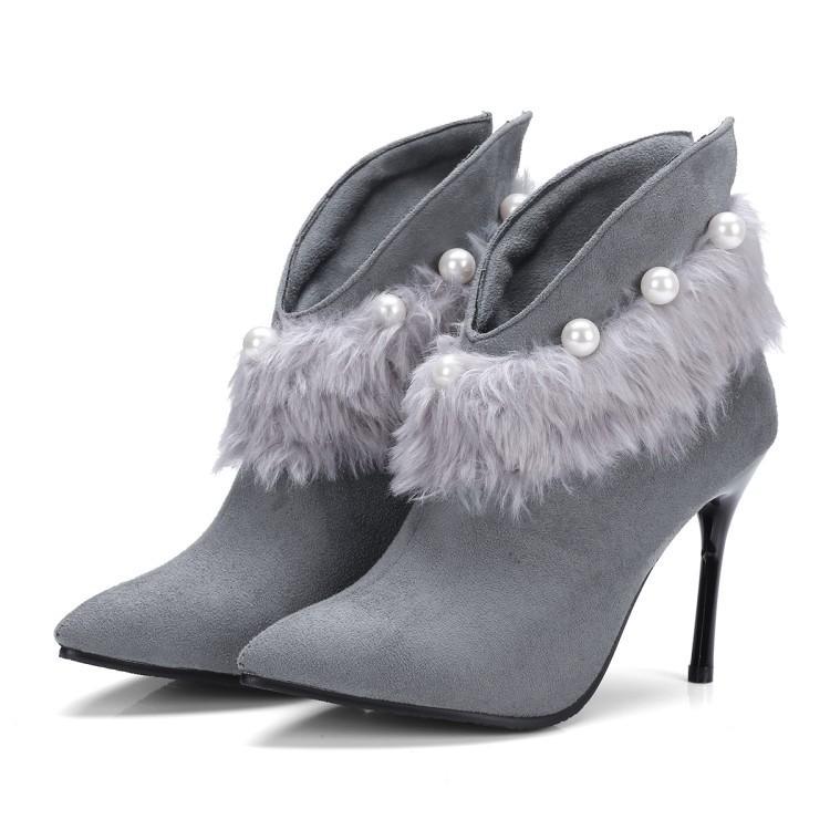 3610e855b2772 Compre Otoño E Invierno Nuevo Patrón Botas Sencillas Cabeza Afilada Tacón  Alto Piel De Ante Gris Botas Cortas Grises Botines De Tacón Fino Zapatos De  Mujer ...