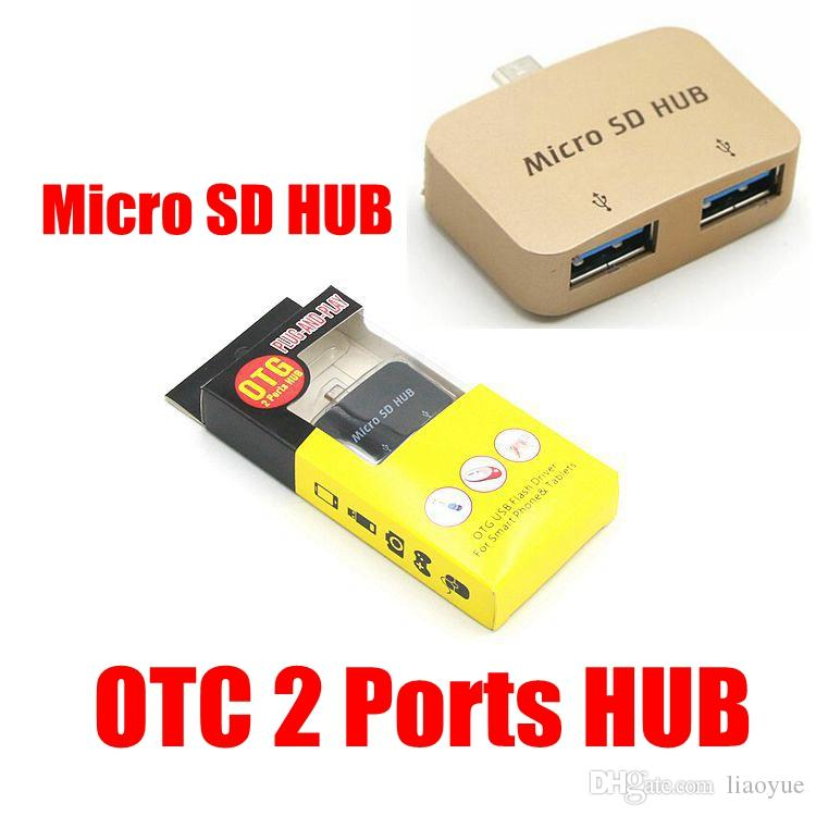 Micro V8 to 2 USB Hub Adapter Converter For Android OTG multi-function card reader HUB two-port hub For External USB device Smartphone