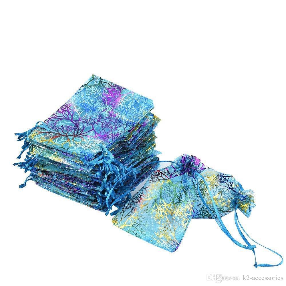 100 قطع قوس قزح المرجان الأزياء الأورجانزا مجوهرات هدية الحقيبة أكياس 4 أحجام الرباط حقيبة الأورجانزا هدية الحلوى أكياس diy هدية أكياس