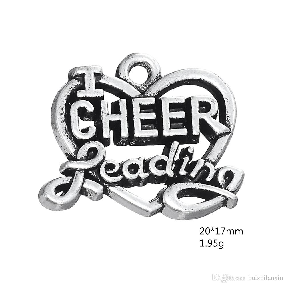 DIY Accessories Jewelry Retro Alloy Pendant Letters Heart Shaped Cheer Geading Charm Dangle Jewelry