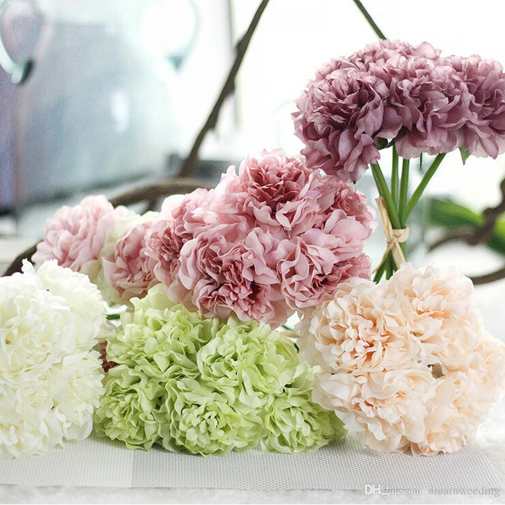 Artificial Silk Fake Flowers Peony Floral Wedding Bouquet Bridal