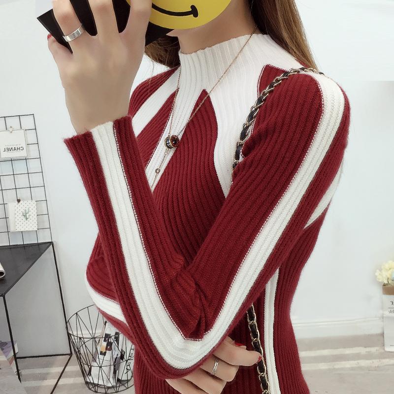 Kontrast Renk Kış Kazak Kazaklar Kadınlar 2018 Moda Süveter Kore Örme Kalın Noel Hediyesi Kazak Kızlar Için