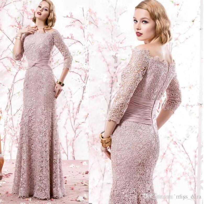 987df16271c Elegant Full Lace Mother Of The Bridal Dresses Off Shoulders 3 4 Sleeves  Ruched Ribbon Long Wedding Guest Dress Custom Made Evening Gowns Mother  Bride ...