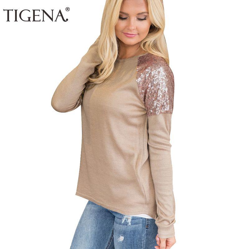 657aba55 TIGENA Short Front Long Back Fashion Sequin T Shirt Women Long Sleeve T  Shirt Female Solid O Neck Tshirt Tops Tee Shirt Femme Printing Tee Shirts  Cool Funny ...