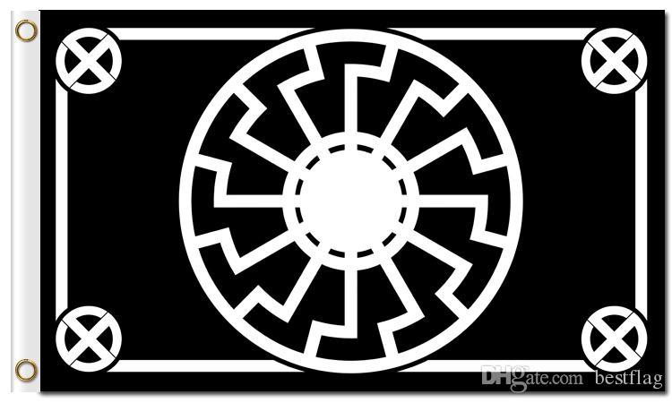 Impresión digital personalizada 3x5ft Negro Sun Flag 90x150cm Poliéster Kolovrat Eslavo Símbolo Sol Rueda Svarog Solsticio Runas Banner