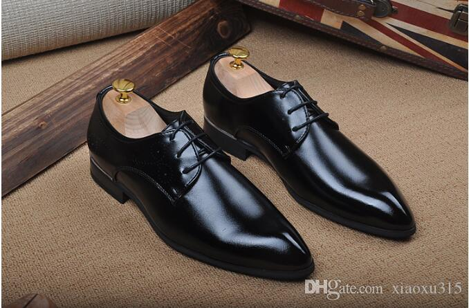 23484fe67a65 2018 Spring new men's shoes Korean version trend of business leisure within  increase men's shoes pointed leather Party shoes For Men JP93