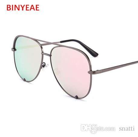 8e75009dc7 Gun Pink Sunglasses Silver Mirror Metal Sun Glasses Brand Designer ...