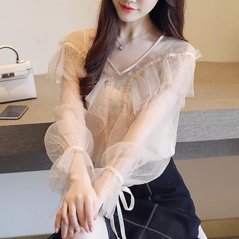 2018 New Autumn Female Long Sleeve Chiffon Blouse Women Lace Blouse