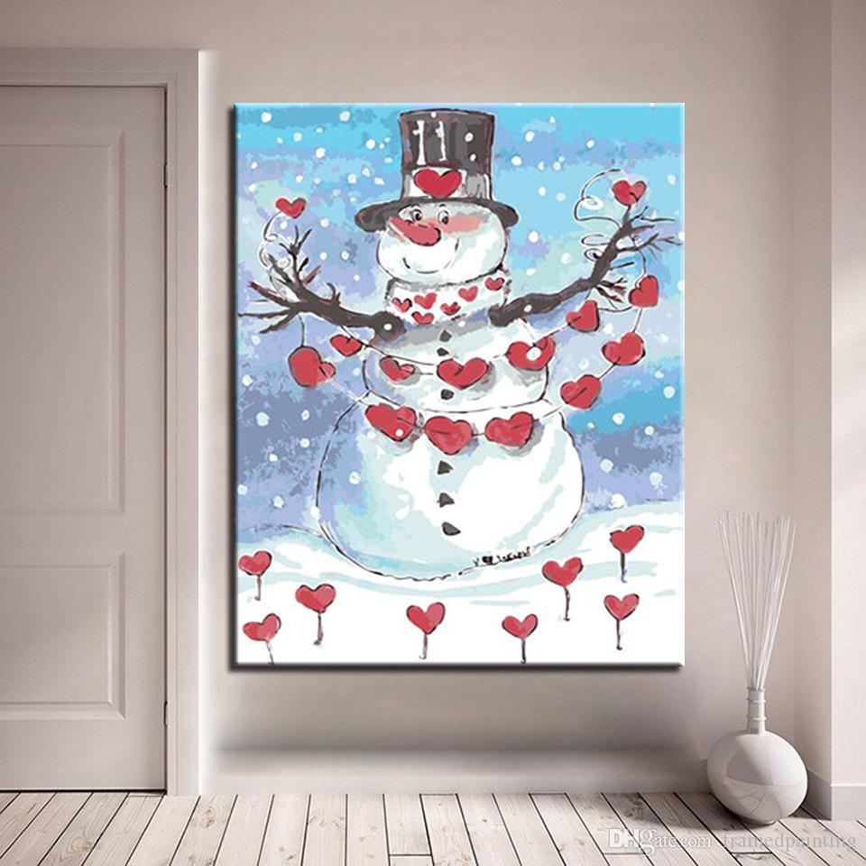 DIY Oil Painting By Numbers Kits Coloring Handpainted Snowman With Red Love Hearts Pictures Unique Home Decor Wall Art Framework