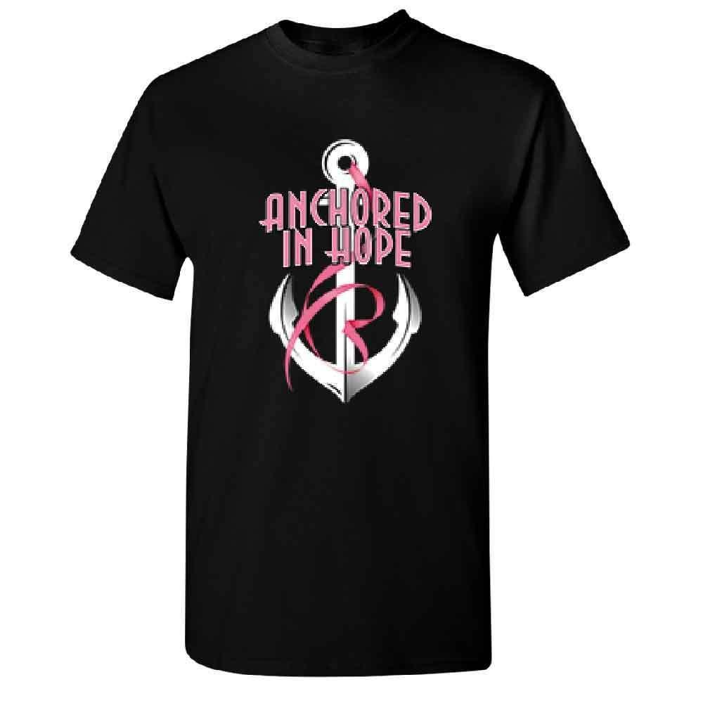 Summer Style T Shirt Men's Short Comfort Crew Neck anclado en Hope Pink Ribbon Hombres camiseta Breast Cancer Tee Shirt