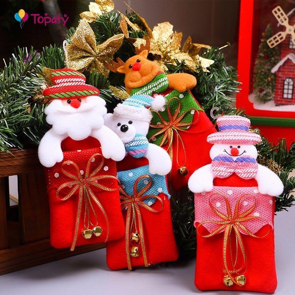 Christmas Santa Claus Gift Bag Kids Xmas Decoration Candy Bag Bauble ...