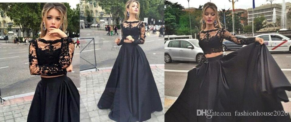 2020 Black Cheap Two Pieces Prom Dresses Hot Sale Illusion Long Sleeves A Line Sexy Full lace Sweep Train Party Evening Dresses Wear