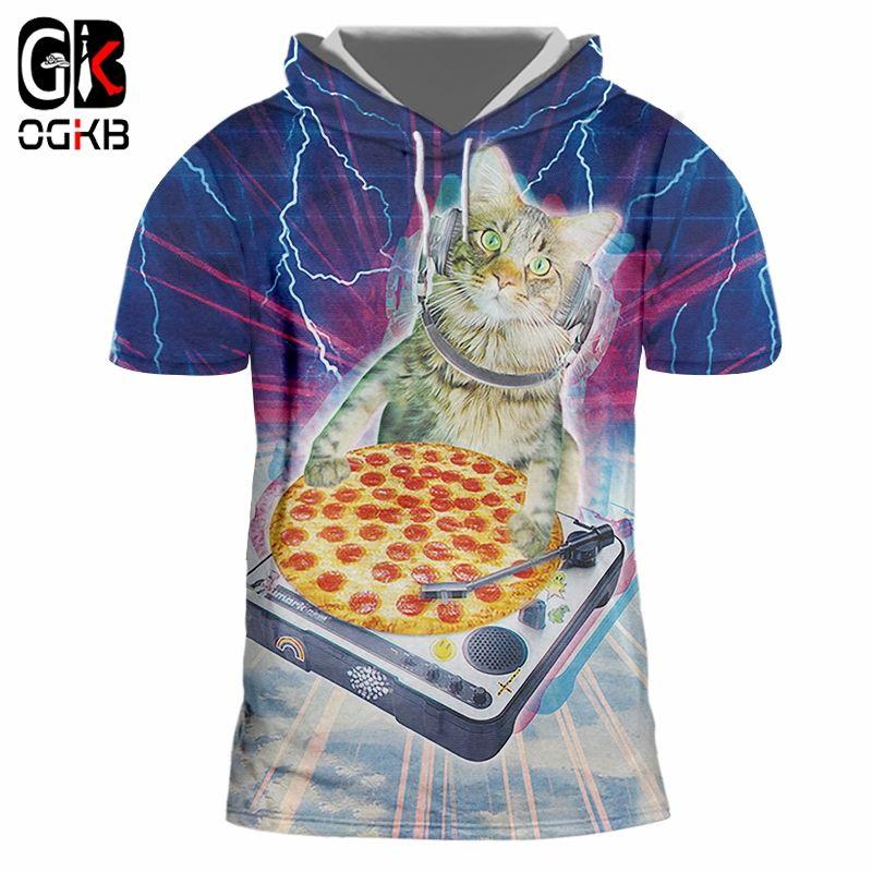 9b503584 OGKB Hooded T Shirts Male Hot Short Sleeve 3D T Shirt Print Starry Sky Cat  Hiphop Oversized Attire Unisex Spring Cap T Shirts Metal T Shirts Cotton  Shirt ...