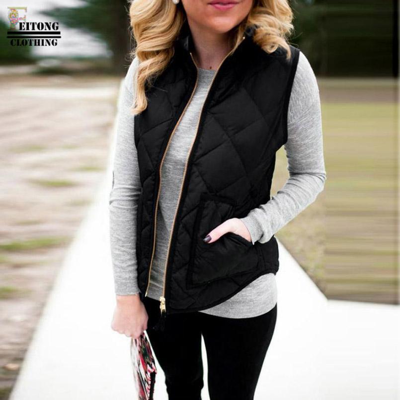 FEITONG Winter Fashion Women Lady Black Pocket Gilet Coat Sleeveless Vests  Jacket Outwear Waistcoat Doudoune Sans Manche Femme UK 2019 From Yujiu b3bd47fd987e