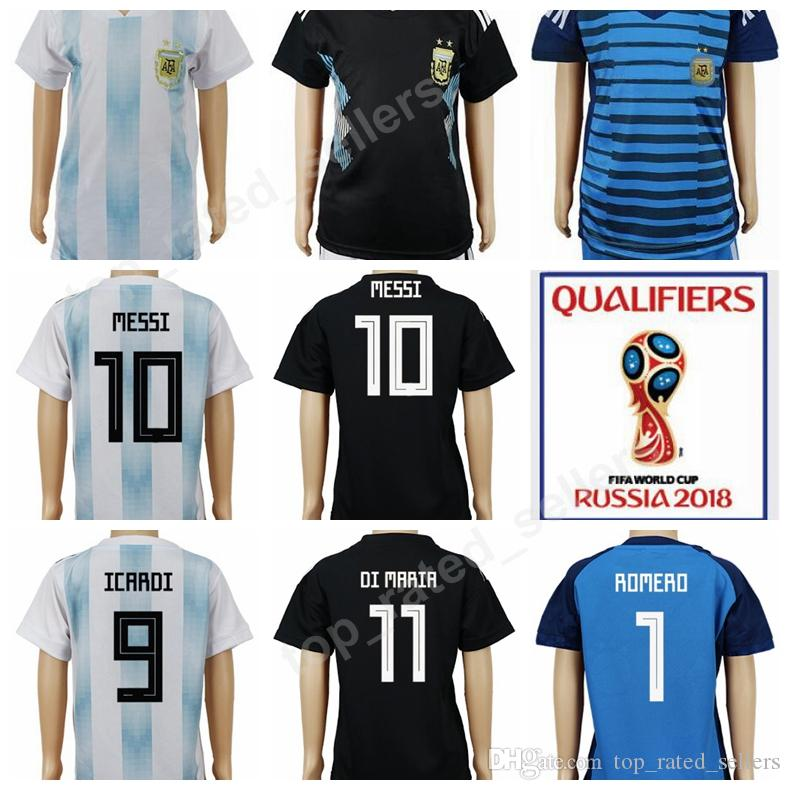 premium selection 3f8eb 61f97 2018 World Cup Soccer Argentina Kids Jersey Argentine Children Lionel Messi  Football Shirt Uniforms Youth Home White Away Black Custom